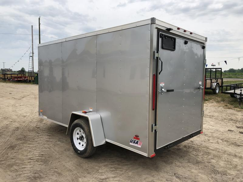 MTI Trailers USA 6X12 V-Nose Ramp Door Enclosed Cargo Trailer Silver