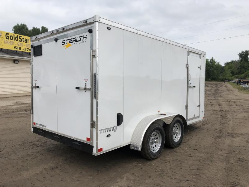 Stealth Trailers Titan 7X14 V-Nose Ramp Enclosed Trailer White