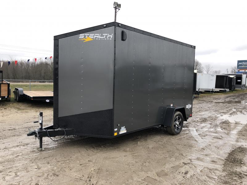 Stealth Trailers 7x12 V-Nose Ramp Door HD UTV+12 Blackout Pkg Enclosed Cargo Trailer