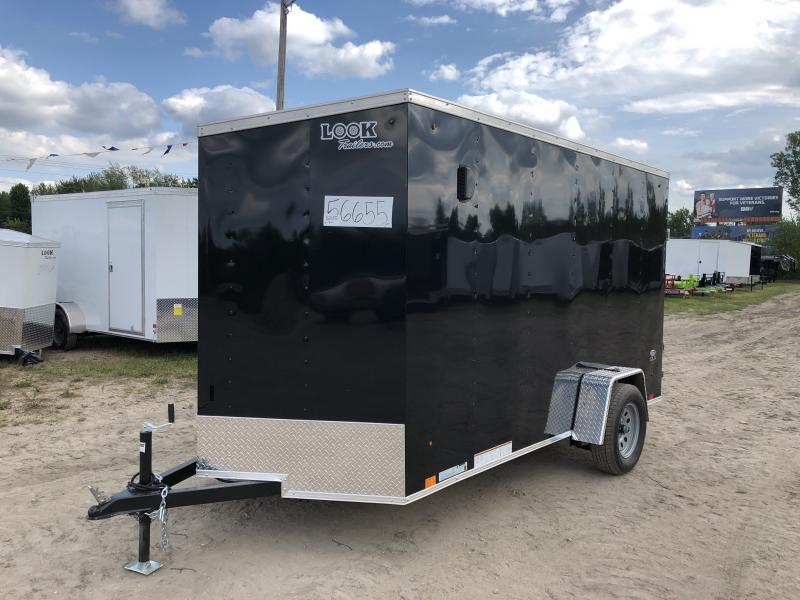 Look Trailers 6X12 V-Nose Ramp Door Enclosed Trailer Black w/ 6ft 6in Interior height