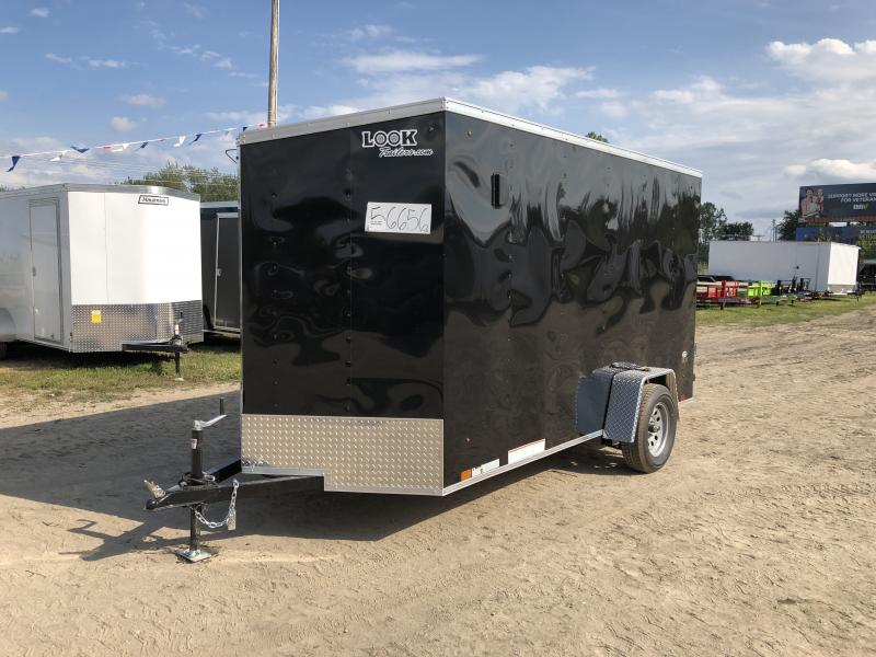 Look Trailers 6X12 V-Nose Barn Door Enclosed Trailer Black w/ 6ft 6in Interior height