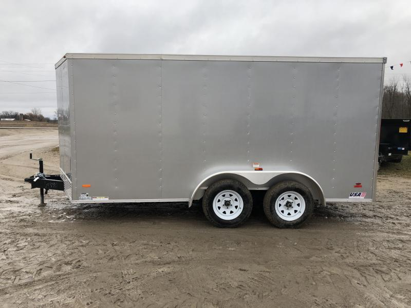 MTI Trailers USA 7X14 V-Nose Ramp Door Enclosed Cargo Trailer Silver