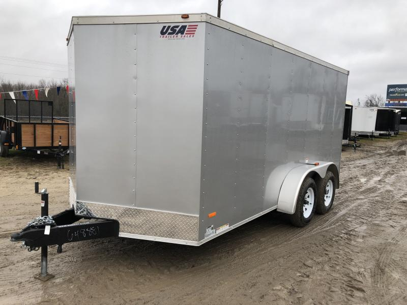 MTI Trailers Silver USA 7X14 V-Nose Ramp Door Enclosed Cargo Trailer