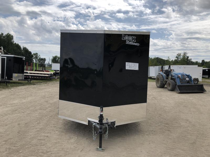 Look Trailers 7x16 V-Nose Ramp Door Enclosed Trailer Black w/ 6ft 6in Interior height