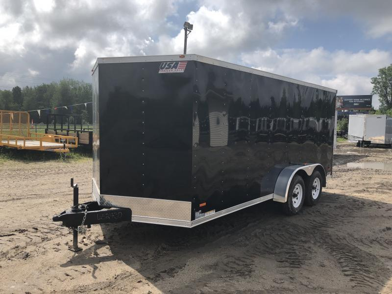 USA 7X16 V-Nose Ramp Door Enclosed Cargo Trailer Black