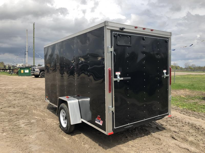 MTI Trailers USA 6X12 V-Nose Ramp Door Enclosed Cargo Trailer Black