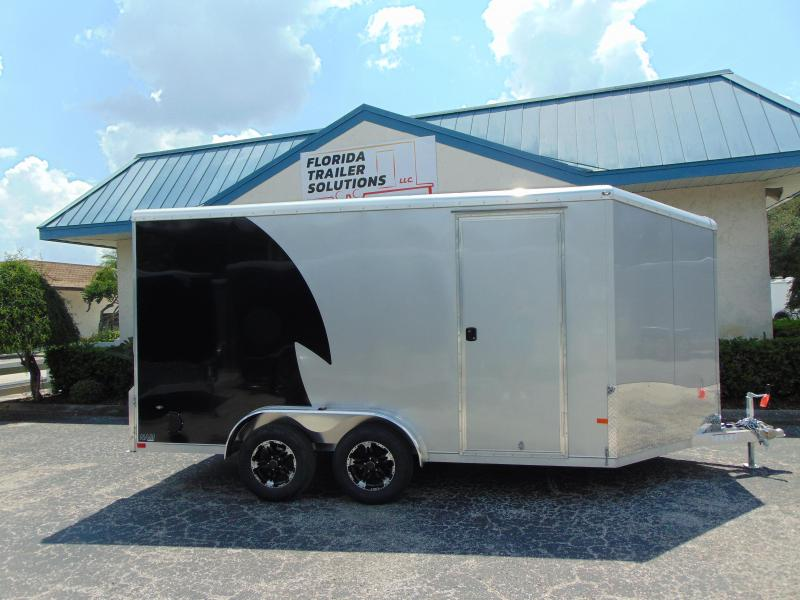 """New NEO Trailers 7.5X14 Aluminum Enclosed Cargo / Motorcycle Trailer 12"""" Addtl Height"""