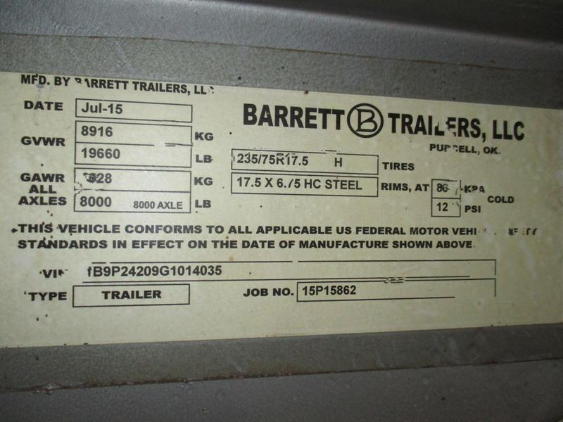 2016 Barrett Trailers Stock Trailer