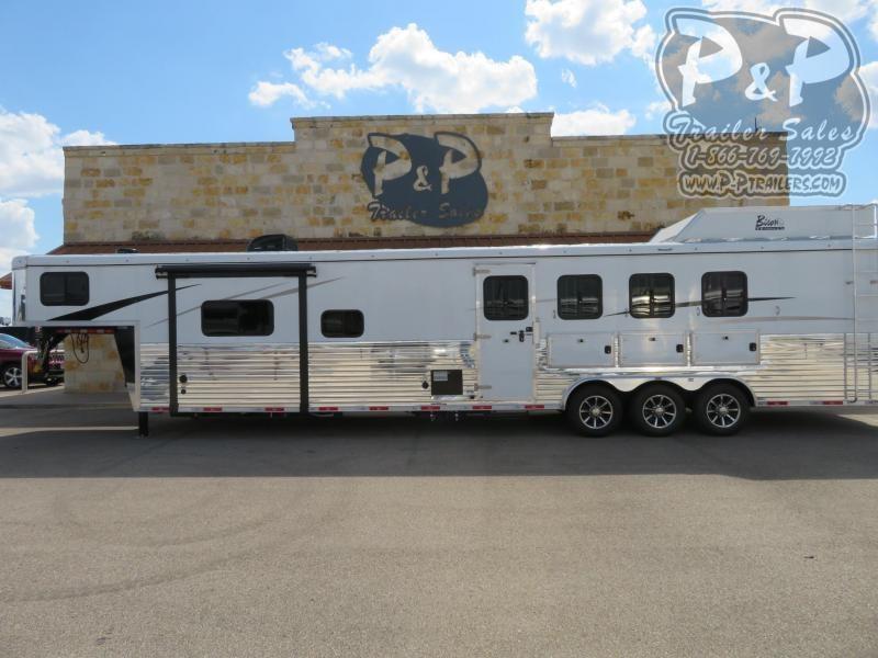 2020 Bison Trailers 8416RGRSL 4 Horse Slant Load Trailer 16 FT LQ With Slides w/ Ramps
