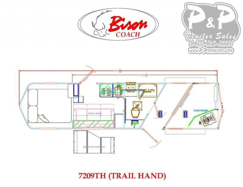 2020 Bison Trailers Trail Hand 7209TH 2 Horse Slant Load Trailer 9 LQ