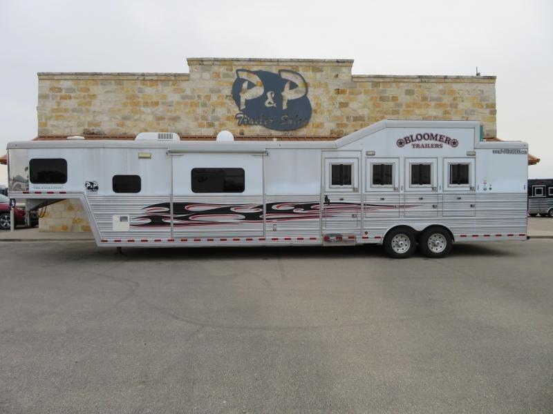 """2011 Bloomer Trailer Manufacturing Slide out-Diesel generator-integrated hay pod 4 Horse 16'6"""" LQ Horse Trailer Slant"""