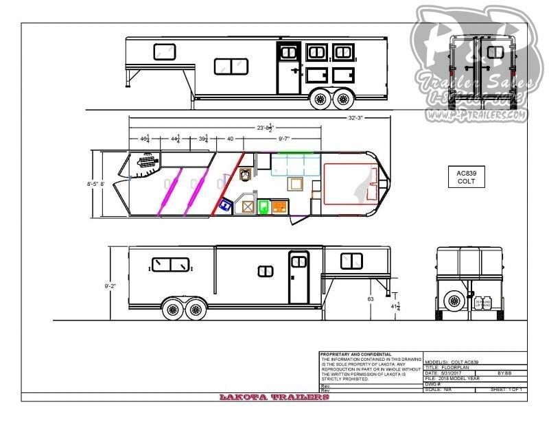 2020 Lakota AC839NS 3 Horse Slant Load Trailer 9 FT LQ