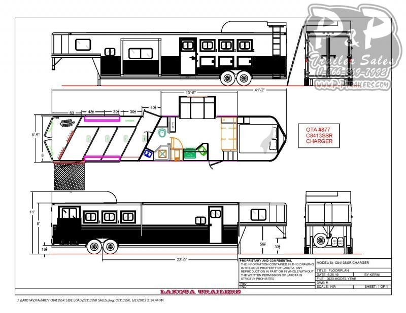 2020 Lakota Charger C8413SRRSL 4 Horse Slant Load Trailer LQ With Slides w/ Ramps