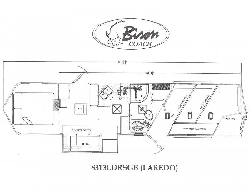 2020 Bison Laredo 8313LDRSGB 3 Horse 13' Short wall
