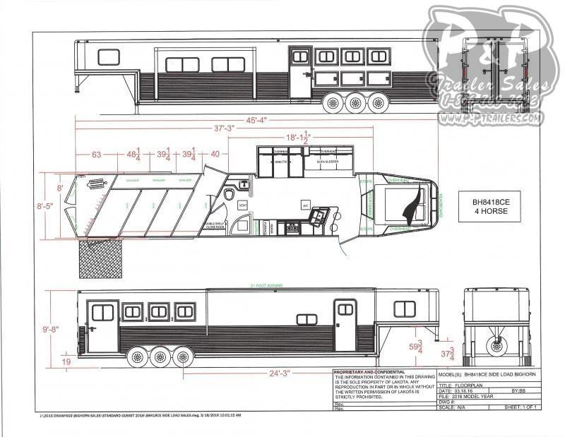 2020 Lakota Big Horn BH8418TCERSL 4 Horse Slant Load Trailer 18 LQ With Slides w/ Ramps