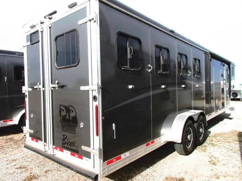 2020 Bison Trailers Trail Boss 7409TBSO 4 Horse 9 Shortwall 4 Horse Trailer 9 LQ With Slides Slant
