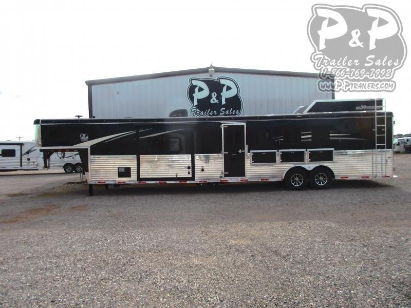 2020 Bison Trailers Ranger 8414RGLRSL 4 Horse Slant Load Trailer 14 LQ With Slides w/ Ramps