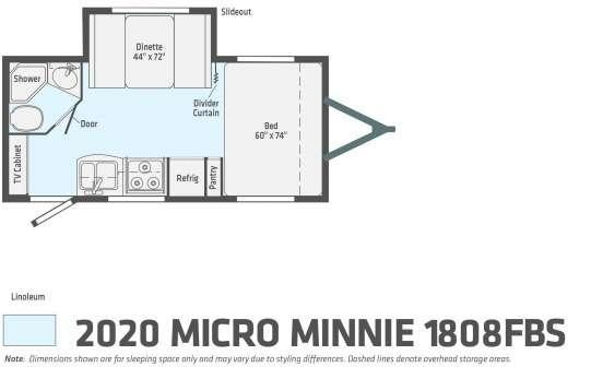 2020 Winnebago Micro Minnie 1808FBS 20' Travel Trailer