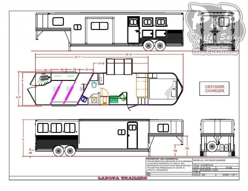 2020 Lakota Charger C8313SR 3 Horse Slant Load Trailer 13 FT LQ With Slides