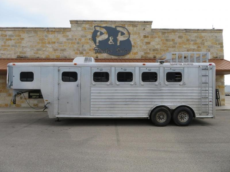 1997 Hart Trailers Silver 4H 4 Horse Trailer Slant