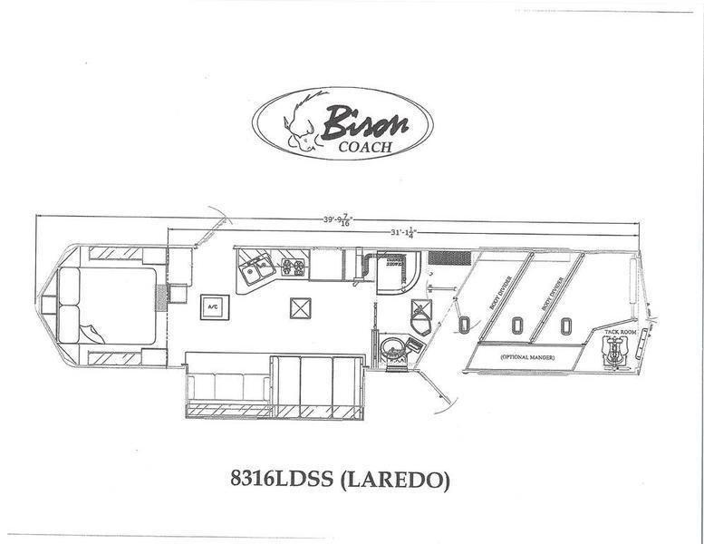 2019 Bison Trailers Laredo 8316LDSS 3 Horse Trailer 16 LQ With Slides Slant
