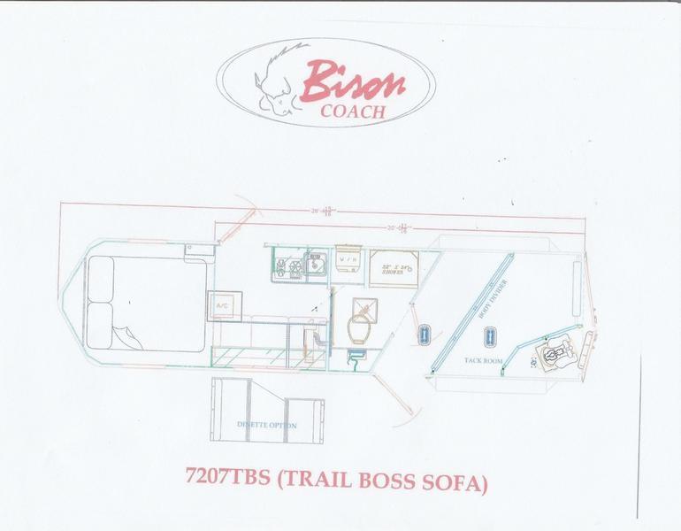 2019 Bison 7207TBS Trail Boss 2 Horse 7' Shortwall
