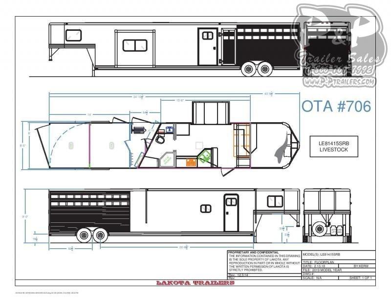 2020 Lakota LE81415SRB 35 ft Livestock Trailer LQ
