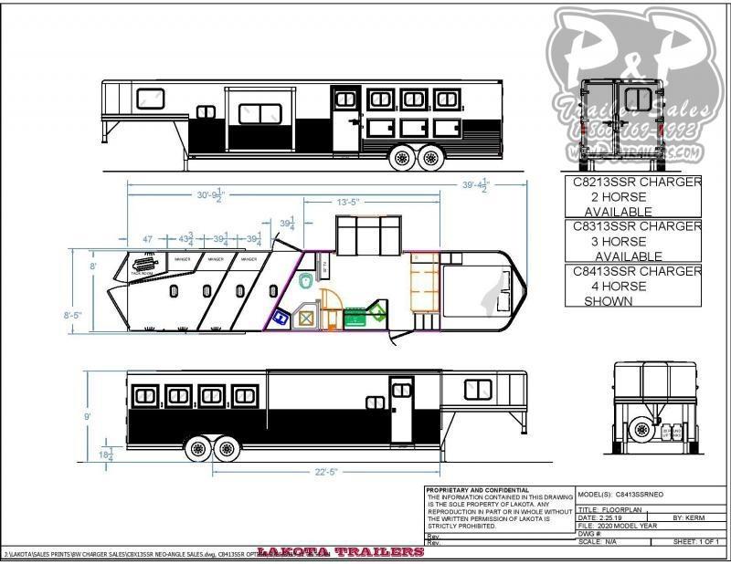 2020 Lakota Charger 8413SR 4 Horse Slant Load Trailer 13 FT LQ With Slides