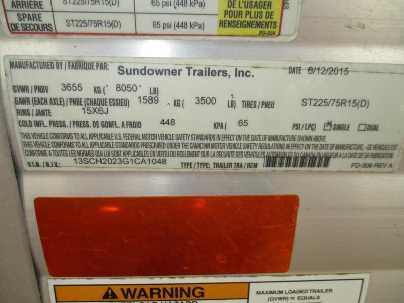 2016 Sundowner Trailers Enclosed Car Hauler Bumper Pull