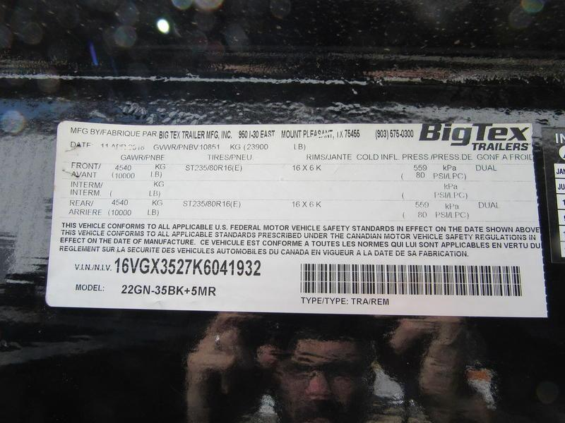 2019 Big Tex Trailers 22GN-35BK+5MR