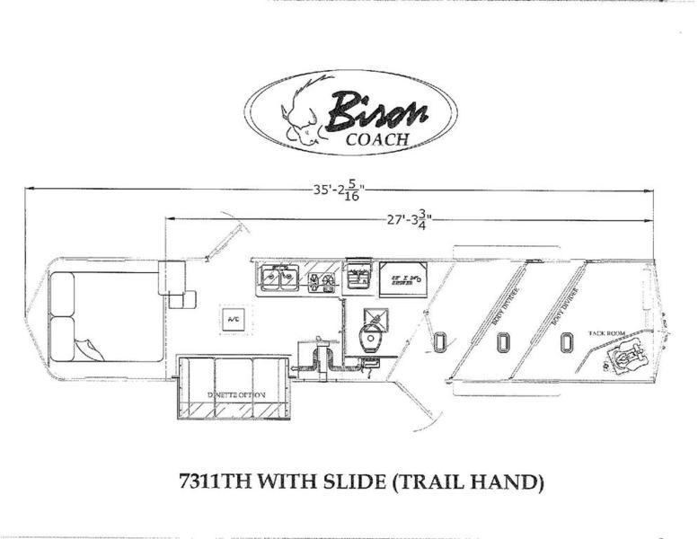 2019 Bison Trail Hand 7311TH 3 Horse w/ 11' Shortwall