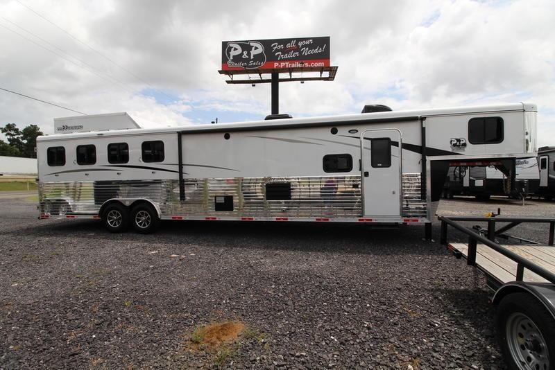 2019 Bison Trailers Ranger 8414 4 Horse Trailer 14 LQ With Slides Slant