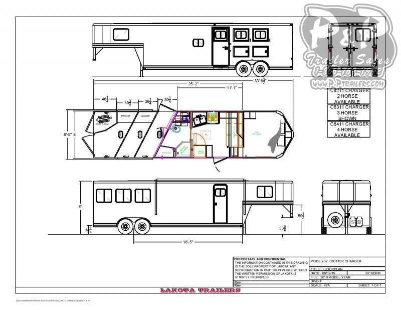 2020 Lakota Charger C8311SRNS 3 Horse Slant Load Trailer 11 FT LQ