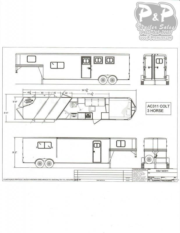 2020 Lakota Colt AC311 3 Horse Slant Load Trailer 11 FT LQ