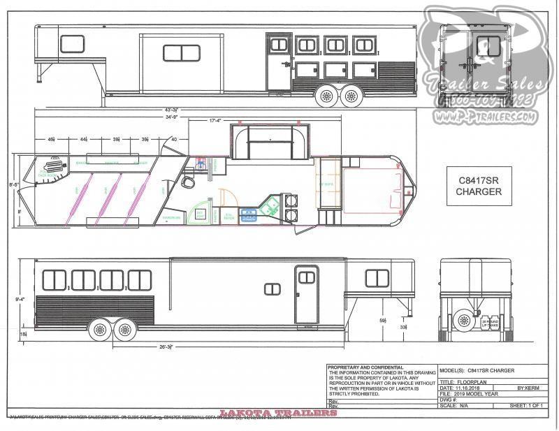 2020 Lakota Charger C8417SRBRSL 4 Horse Slant Load Trailer LQ With Slides w/ Ramps