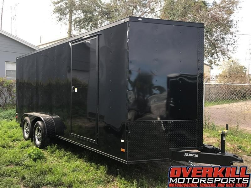 2018 7X18 Covered Wagon V-Nose Tandem Axle Enclosed Trailer - Blacked Out