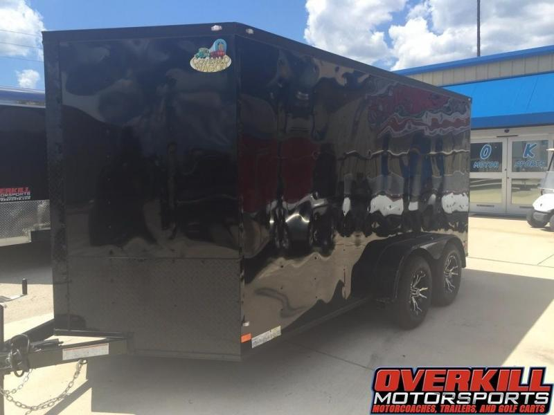 2018 Covered Wagon 7x16 V-Nose Tandem Axle Enclosed Trailer - Blacked Out