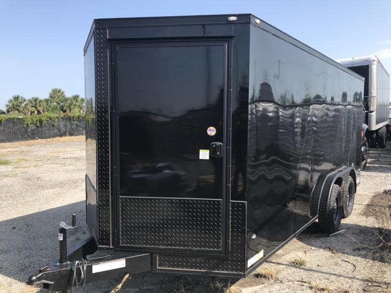 2018 COVERED WAGON 7X16 V-NOSE TANDEM AXLE ENCLOSED CARGO TRAILER