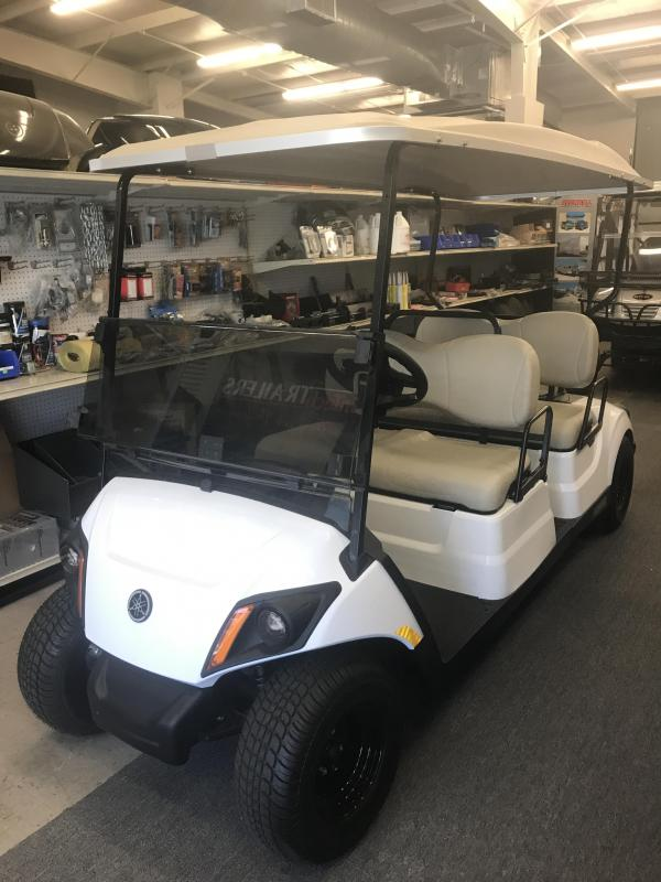 2018 Yamaha Drive 2 Fuel Injected Gas Golf Cart 4 Pass Concierge - White
