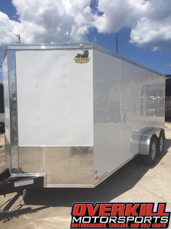 2018 Covered Wagon 7x16 V-Nose Tandem Axle Enclosed Trailer - White