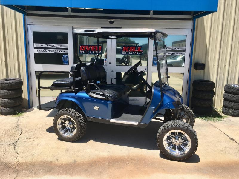 2008 E-Z-GO TXT 36V Electric Lifted Golf Cart 4 Pass - Blue w/ Custom Crocodile Seats