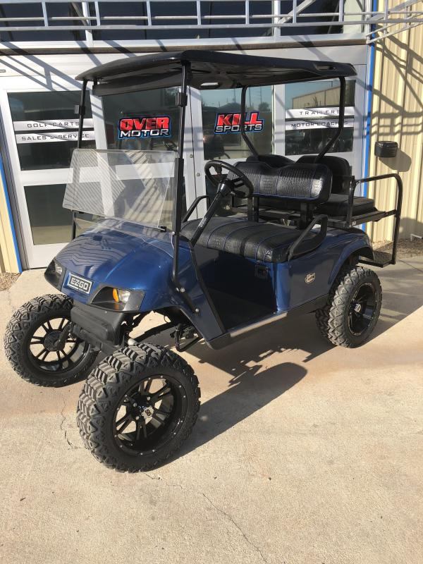 2008 E-Z-GO -Street Legal Electric Lifted Golf Cart 4 Passenger w/ Custom Crocodile Seats Blue
