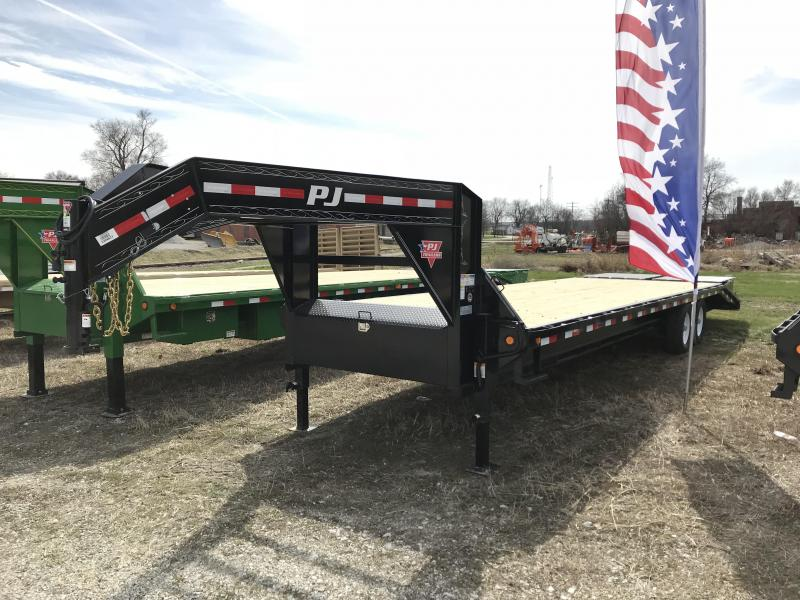 2018 PJ Trailers 30' Flatdeck with Singles w/ Monster Ramps