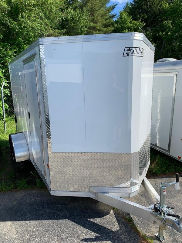 2019 EZ HAULER 6X10 Enclosed Cargo Trailer - WHITE - Ramp Door