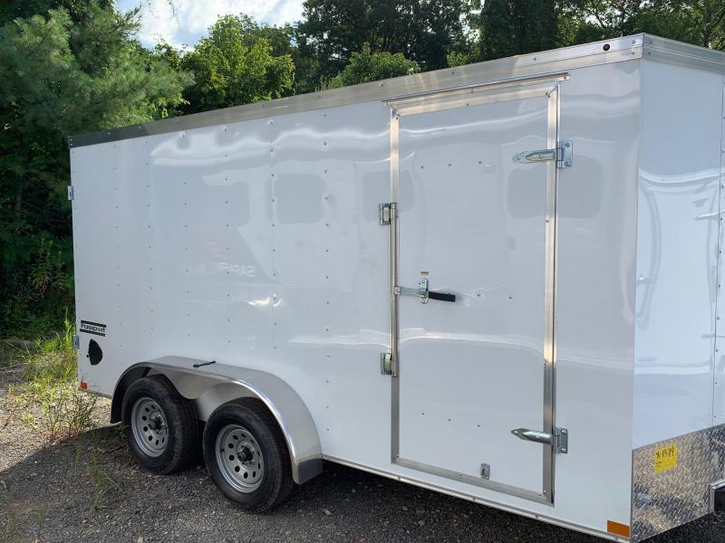 2019 Haulmark Passport 7X14 Enclosed Cargo Trailer - w/ BARN DOORS - WHITE