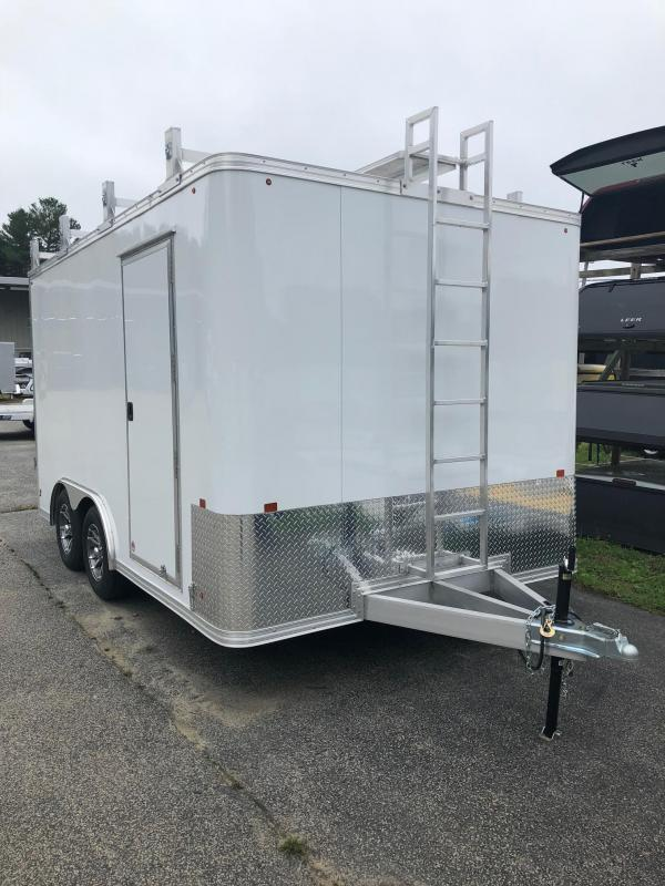 2016 Mission MEC85X14 Enclosed Cargo Trailer w/ BARN DOORS - WHITE