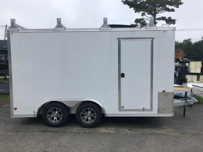 2016 Mission MEC85X14 Enclosed Cargo Trailer w/ BARN DOORS - WHITE