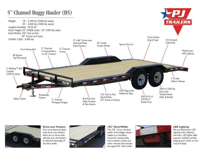 102x20 Buggy Hauler-3500lb axles Dovetail Slide in Ramps