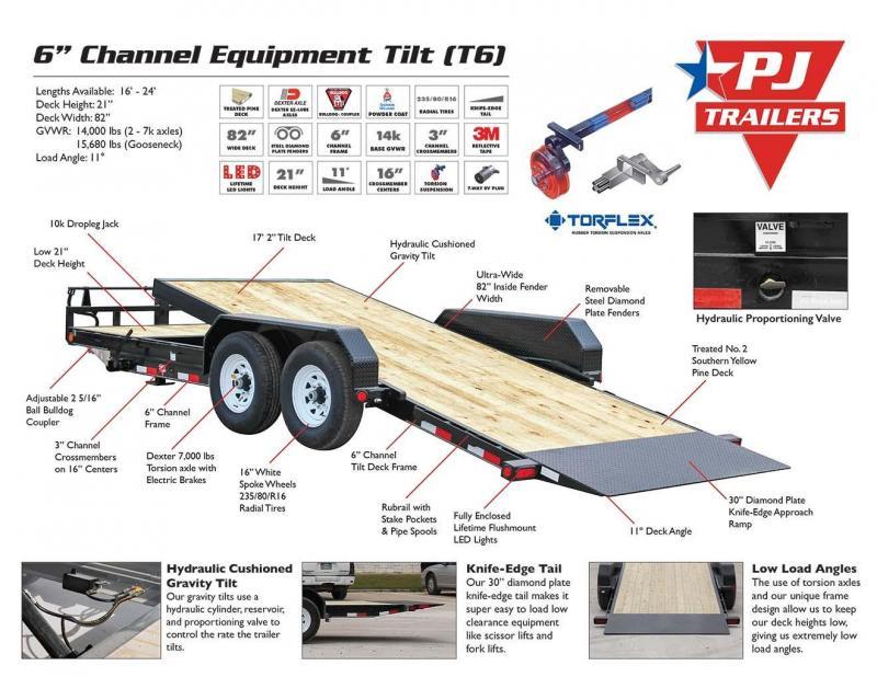 83X24 PJ Gooseneck Equipment Tilt Trailer