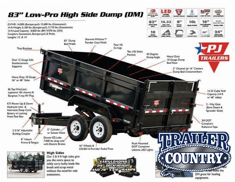 2018 PJ Trailers PJ 83x14 Lo Pro High Side Dump Dump Trailer
